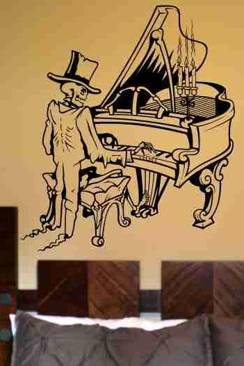 Skeleton Version 102 Playing Piano Wall Vinyl Decal Sticker Art Graphic Sticker Sugar Skull