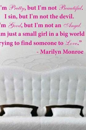 Wall Decal Quotes - I'm pretty but I'm not beautiful - Marilyn Monroe Quote Decal Sticker Wall