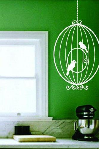 Birdcage with Birds - Version 101 Wall Decal Sticker
