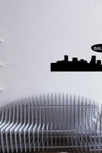Baltimore City Skyline with Blimp Decal Sticker Wall