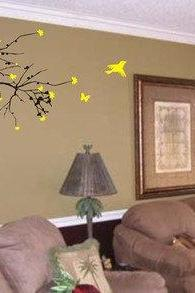 Hummingbirds and Tree Branch Wall Decal Sticker