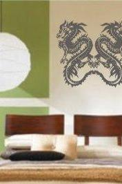 Twin Tribal Dragons Dragon Decal Sticker Wall Art Graphic