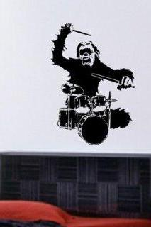 Monkey Drummer Wall Mural Decal Sticker Music