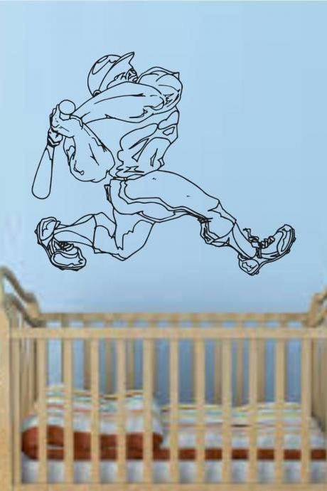 Baseball Player Version 108 Wall Vinyl Wall Decal Sticker Art Sports Kid Children Ball Nursery Boy Teen Homerun