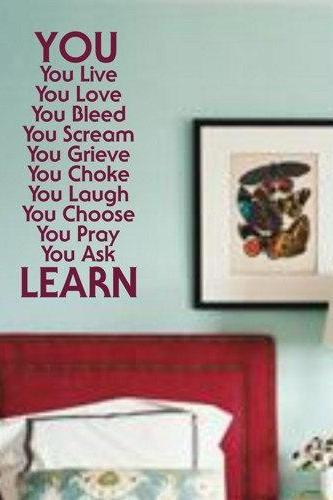 Wall Decal Quotes - You LearnWall Decal Sticker Vinyl Beautiful Quote Words