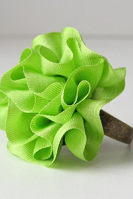 Neon Green Ring ruffled silk ribbon
