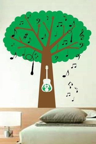 Musical Tree with Guitar Handle Branches - Music Notes - Microphone and Owl Kids Baby Wall Vinyl Decal BIG BIG BIG art graphic