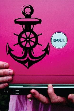 Nautical Anchor and Helm Vinyl Decal Sticker Art Graphic Sticker Laptop Car Window