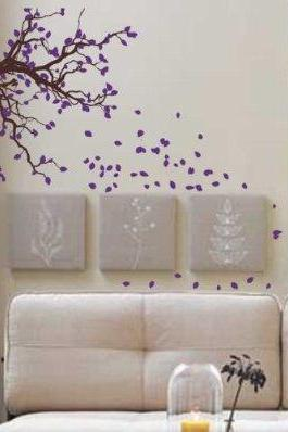 Autumn Tree Branch with Falling Leaves Wall Decal Sticker