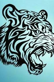 Tribal Tiger Face Decal Sticker Wall
