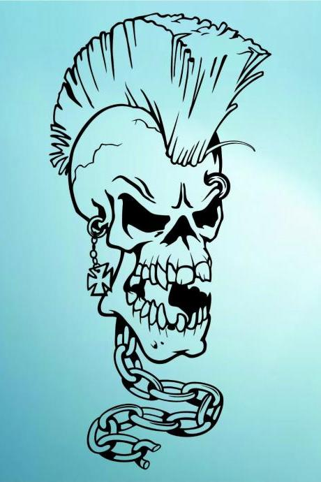 Mohawk Skull Wall Vinyl Decal Sticker Art Graphic Sticker Sugar Skull Sugarskull Hair Style