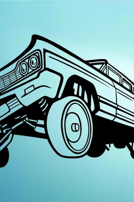 Lowrider Car with Hydraulics Decal Sticker Wall Mural Art Graphic Cars