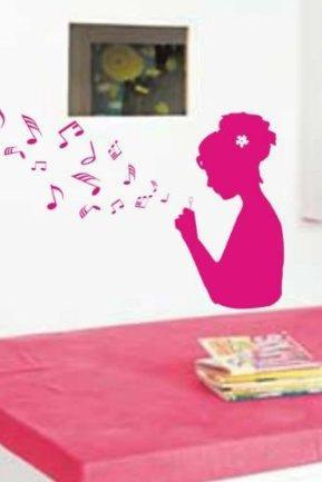 Girl Blowing Music Notes Wall Mural Decal Sticker Music