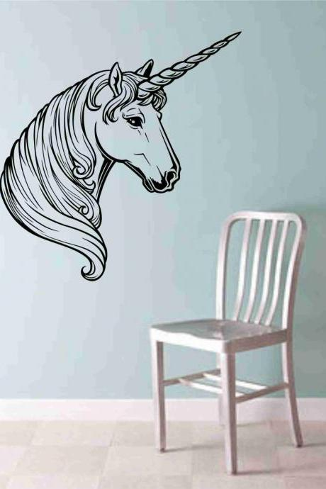 Unicorn Head Wall Vinyl Decal Sticker Art Graphic Sticker