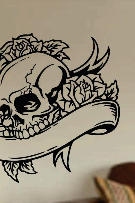 Tattoo Skull with Banner Wall Vinyl Decal Sticker Art Graphic Sticker Sugar Skull Sugarskull Tattooed
