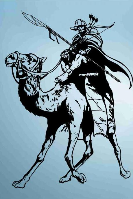 Mongol on Camel Decal Sticker Wall Decal Art Decals Stickers