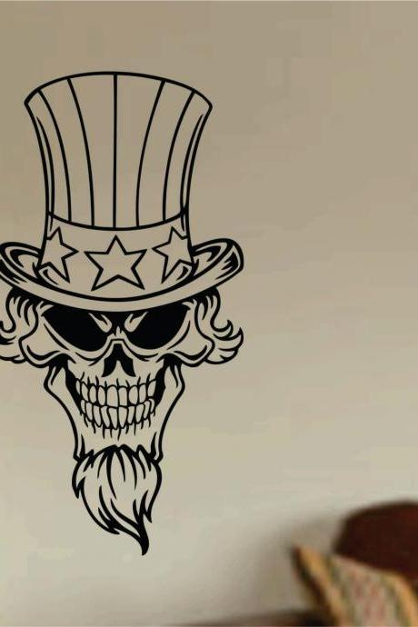Patriotic Skull Wall Vinyl Decal Sticker Art Graphic Sticker USA 4th of July America Murrica