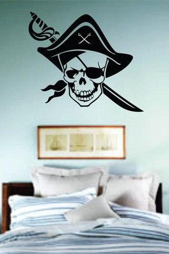 One Eyed Pirate Wall Mural Decal Sticker Vinyl