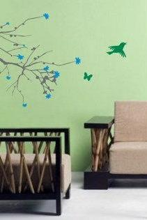 Big Cherry Blossom Branch with Birds Sticker Wall Decal Elegant Nature Tree