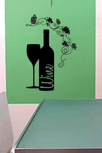 Wine Glass and Wine Bottle Wall Decal Sticker Kitchen Room Decor Dining Room Grapevine