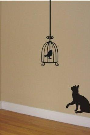 Cat Staring At Birdcage Wall Decal Sticker Wall Cats Birds Graphic Art