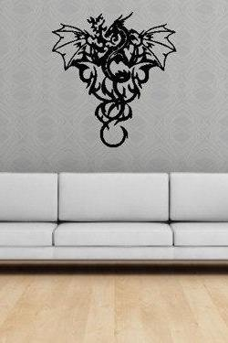 Wall Mural Decal Sticker Dragon Tribal Art Dragons Wall Decal Sticker Mural Art Graphic Dragon Kid Boy Room Asian