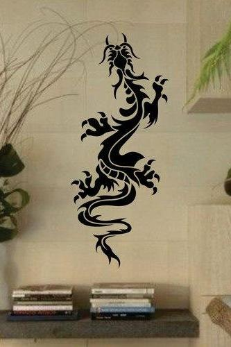 Tribal Dragon Version 3 Wall Decal Sticker Mural Art Graphic Dragon Kid Boy Room Asian
