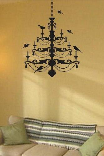 Chandelier with birds Decal Sticker Wall Mural Nursery Modern Kids Love Bird Birds Shabby Sheik light lights
