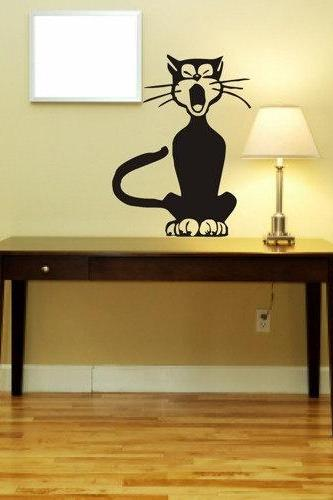 Cute Yawning Cat Decal Sticker Kitty Home Decor Wall Mural