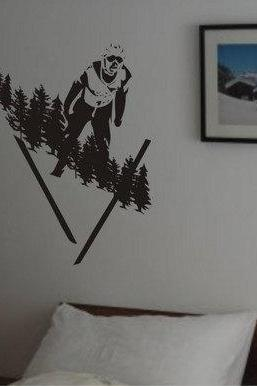 Skier Jumping Wall Decal Sticker Art Graphic Ski Snow X Games Olympics Extreme