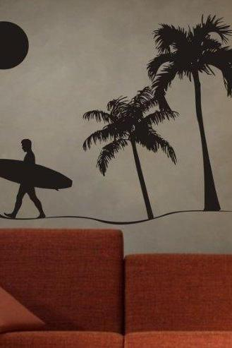 Surfer and Beach Scene Sticker Wall Decal Sticker