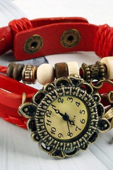 Dragonfly Pendant Women Bracelet Watch,Wooden Beads Wrist Watch, Antique Style, Leather Bracelet Watch
