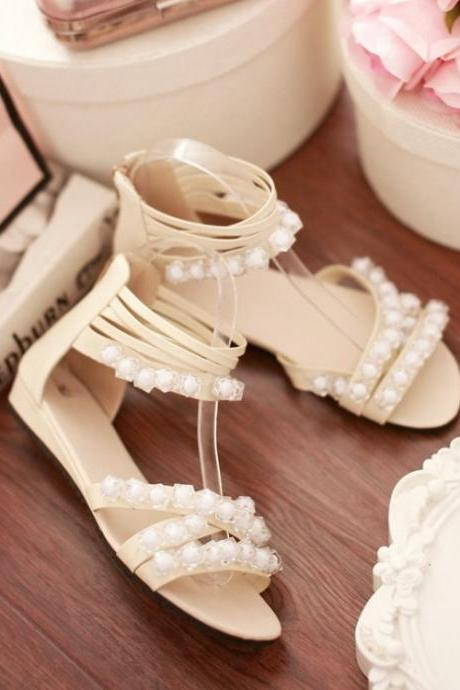 Beige PU Ankle Wrap Sandals