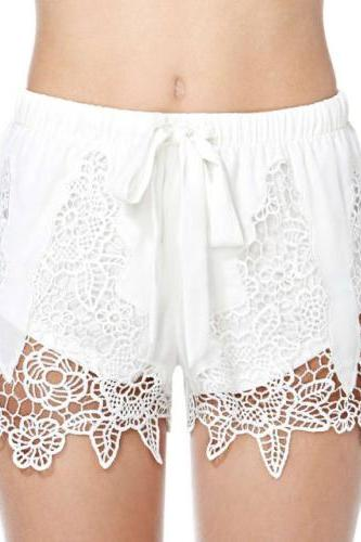 Lace White Bow shorts