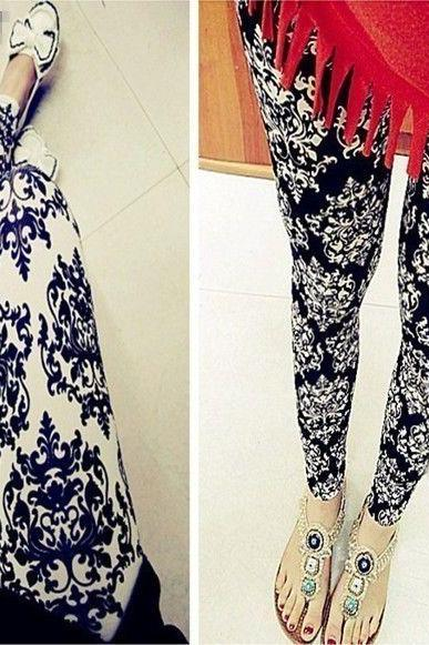Ethnic Style Lady Girl Flowers Print Leggings Stretchy Tight Pencil Skinny Pants