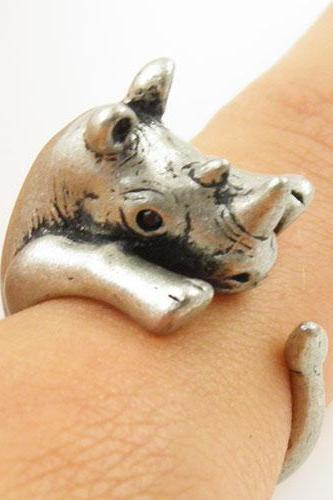 Animal Wrap Ring - Silver Rhino