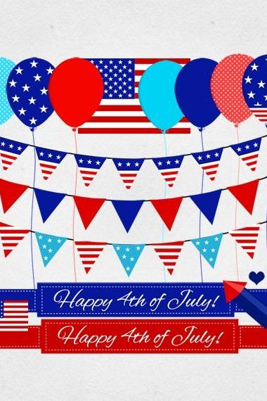 4th July clipart - USA patriotic red white and blue US Independence Day digital graphics personal and commercial use