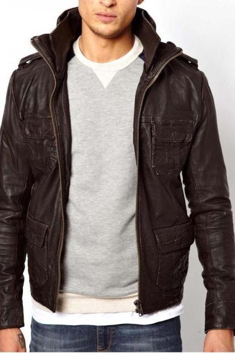 MEN STAND COLLAR LEATHER JACKET, MENS BROWN JACKET, MEN'S BIKER LEATHER JACKET