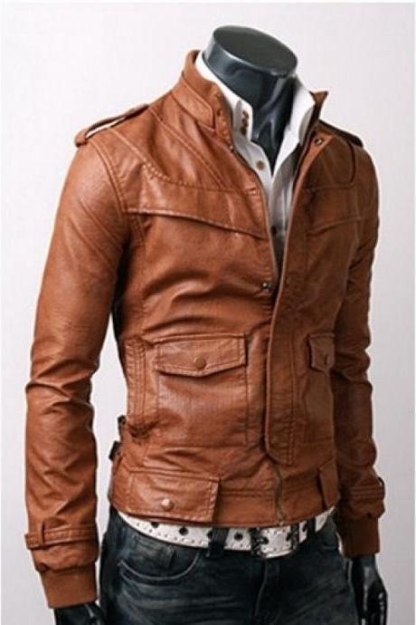 SLIM-FIT LIGHT BROWN LEATHER JACKET, MEN'S LEATHER JACKETS, BIKER LEATHER JACKET