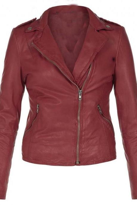 WOMEN'S LEATHER JACKET, WOMENS MAROON COLOR LEATHER JACKET, BIKER LEATHER JACKET WOMENS