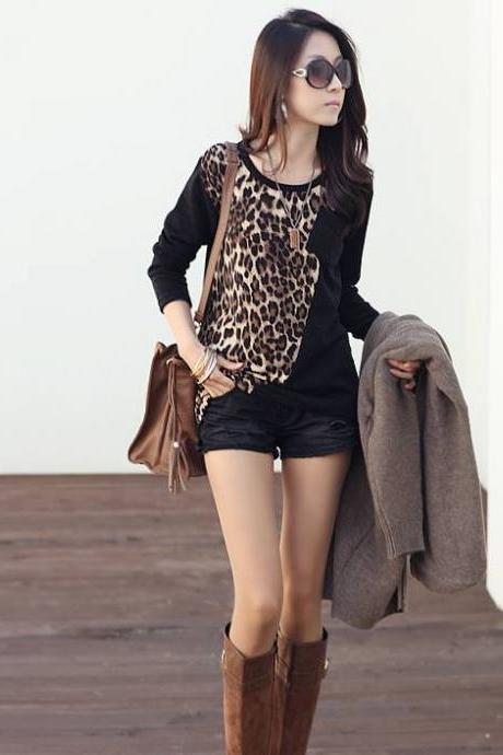 2014 Spring New Womem Fashion Color Blocking Leopard Print Long Sleeve T-Shirt Modern Chic Design Feminine Sexy Blouse 808