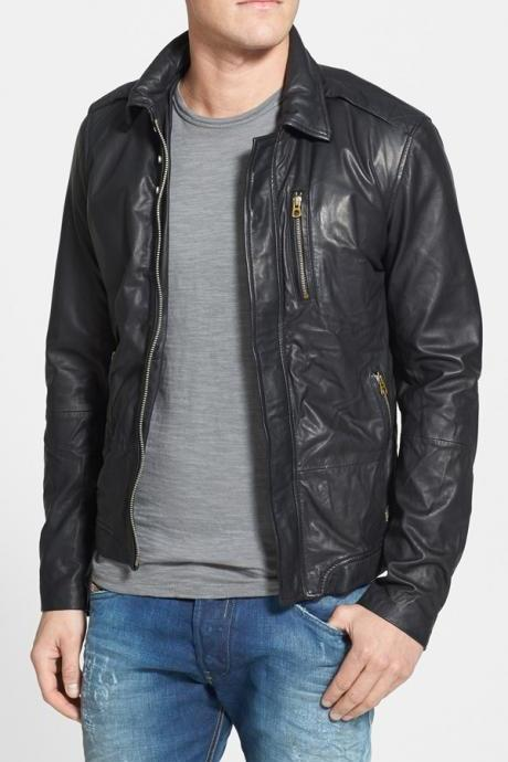 MENS LEATHER JACKET, MENS BLACK JACKET, MEN'S MOTORCYCLE LEATHER JACKET