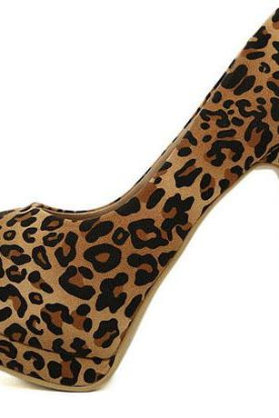Stunning Leopard Pattern Platform Design Suede Brown Party Pumps