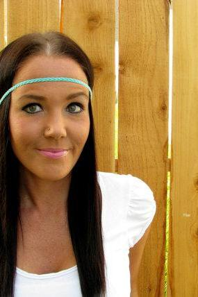 Bohemian Indie Hippie Chic Turquoise Blue Braided Cord Thin Headband Hair Band Wrap Girl Woman Wedding Accessories w/ Black Stretch Ribbon