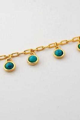 Blue Turquoise Stone Charms Pendant Necklace New Trendy 18K Real Gold Plated Necklaces & Pendants Women Jewelry N312