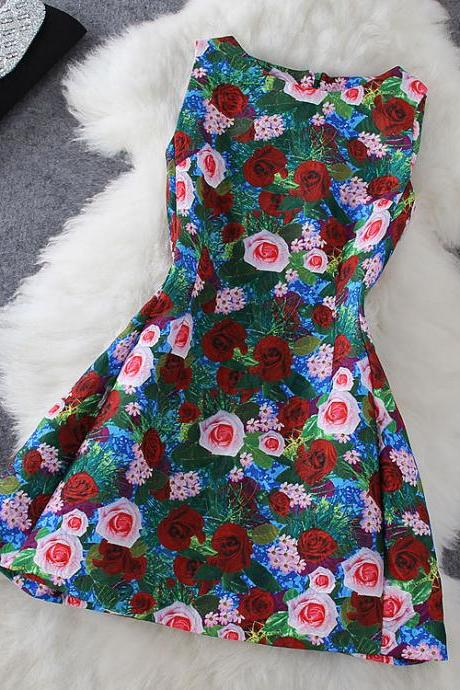 Fashion rose print dress GG716EC