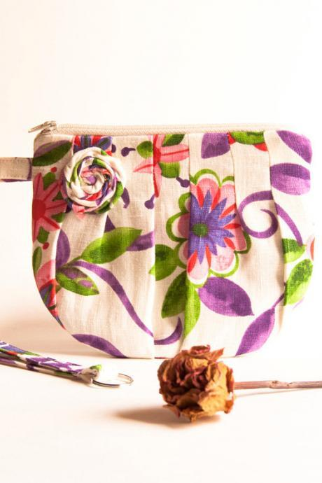 Romantic Rosebud pleats in white cream colorful with lilac violet zippered pouch, purse, clutch, wristlet by Lolos