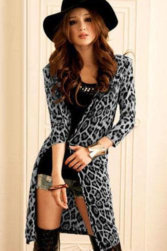 Women's Sweet Gray V-Neck Leopard Coat