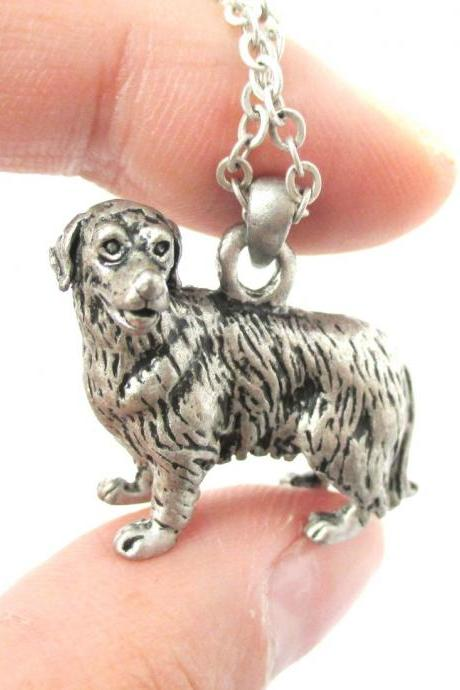 3D Detailed Golden Retriever Dog Lover Animal Charm Necklace in Silver for Women