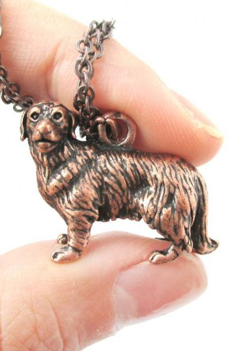 3D Detailed Golden Retriever Dog Lover Animal Charm Necklace in Copper for Women